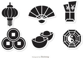 Vettore nero delle icone del nuovo anno lunare