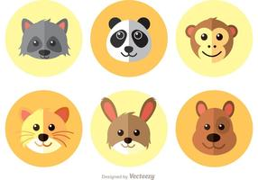 Animals Flat Icons Vector