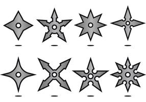 Zilveren ninja gooien sterpictogramvectoren