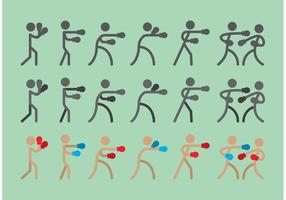 Boxer sitck figura ícone vetores
