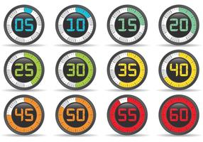 Colorful Athletic Stop Watch Vectors