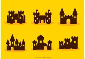 Silhueta cartoon fort castle vectors