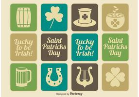 Vintage Saint Patrick's Day Icon Set vector