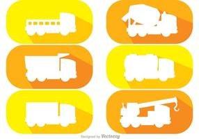 White Silhouette Dump Trucks Vector Pack