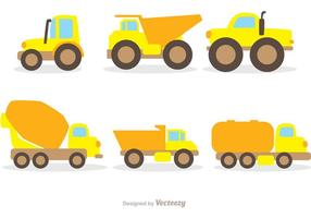 Flat Dump Trucks Vector Pack