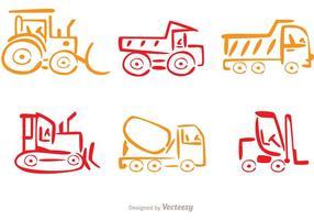 Colorful Line Dump Trucks Vector