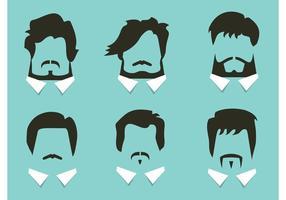 Estilos de cabelo e barba do vetor livre