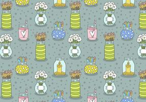 Mason Jar Seamless Pattern Vector