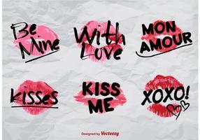 Vector love kisses sings