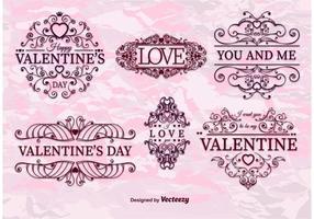 Valentin retro ramvektorer