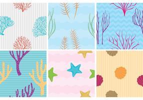 Recife de corais com padrões de vetores de peixe