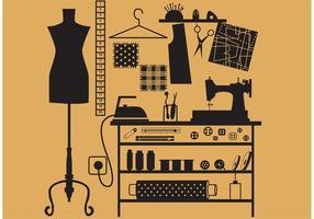 Símbolos de costura y sastre vectoriales