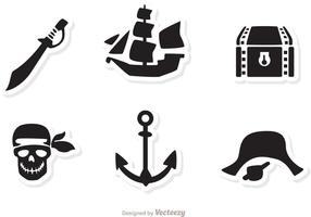 Pirate Black Icons Vectors