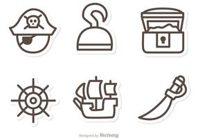 Piraten Umriss Vektor Icons
