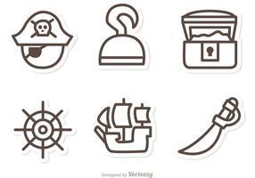 Iconos del vector del esquema del pirata