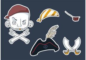 Elementos del vector del pirata del cráneo