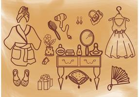 Vintage Girl Vector Set