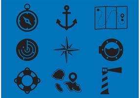 Iconos Náuticos Del Vector