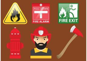 Firefighter Isolated Vectors