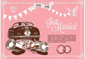 Retro Just Married On Car Vector