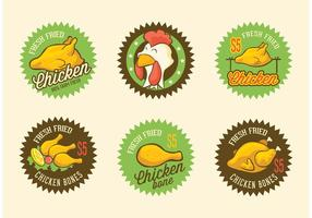Gratis Retro Gebakken Kip Vector Labels