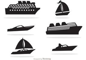 Vettore nero delle icone della barca e della nave
