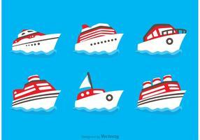 Vetores de ícones de navio plano