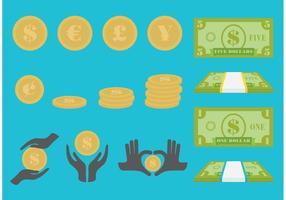 Les factures et les icônes vectorielles en espèces