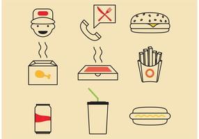 Iconos de vectores de comida rápida
