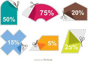 Scissor Coupon Discount Sticker Vectors