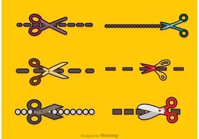 Scissor líneas de corte Vectores