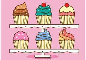 Cute Cupcake Stand Vector