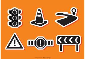 Voies routières vecteurs icône noire