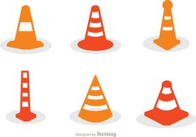Orange Cone Icons Set Vector