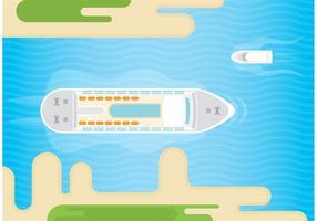 Kreuzfahrt Liner Und Boot Vektor