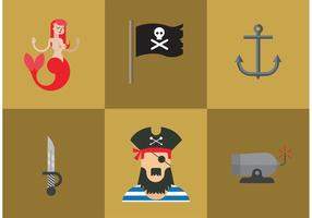 Iconos del pirata del vector