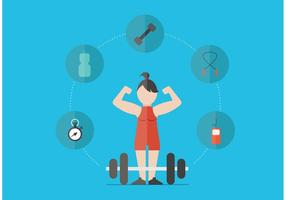 Mujer, entrenamiento, bíceps, vectores