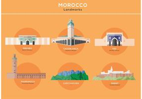 Wahrzeichen der wichtigsten Städte in Marokko Vektoren