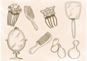 Vectores dibujados a mano del salón del vintage