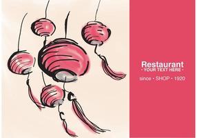Cartão de restaurante com vetor de lanterna chinesa