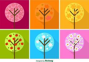 Vecteurs d'arbres saisonniers plats colorés