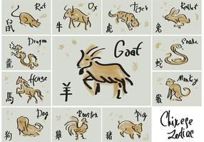 Vetores chineses desenhados a mão do zodíaco