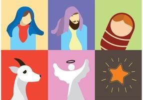 Nascimento dos ícones do vetor de Cristo
