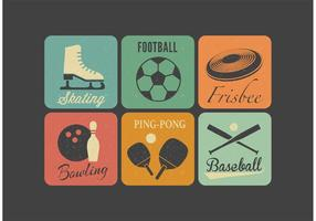 Ícones vetoriais de esporte retro livre