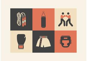 Retro Boxing Vector Icons