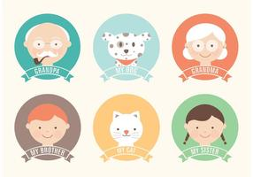 Libre plana Familia Vector Icon Set