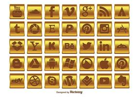 Gold Social Media Icon-Set
