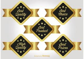 Gold Promotional Labels vector
