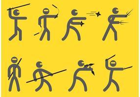 Ninjas vetores de silhueta