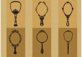 Handdragen Vintage Hand Mirror Vectors